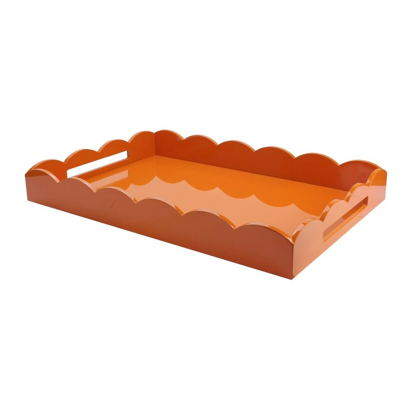 MH Tray - Scalloped Lacquered - Orange