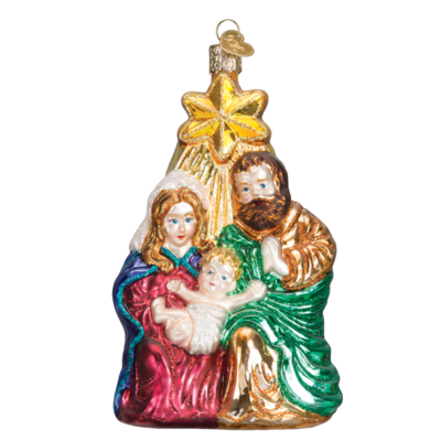 Ornament - Blown Glass - Holy Family with Star
