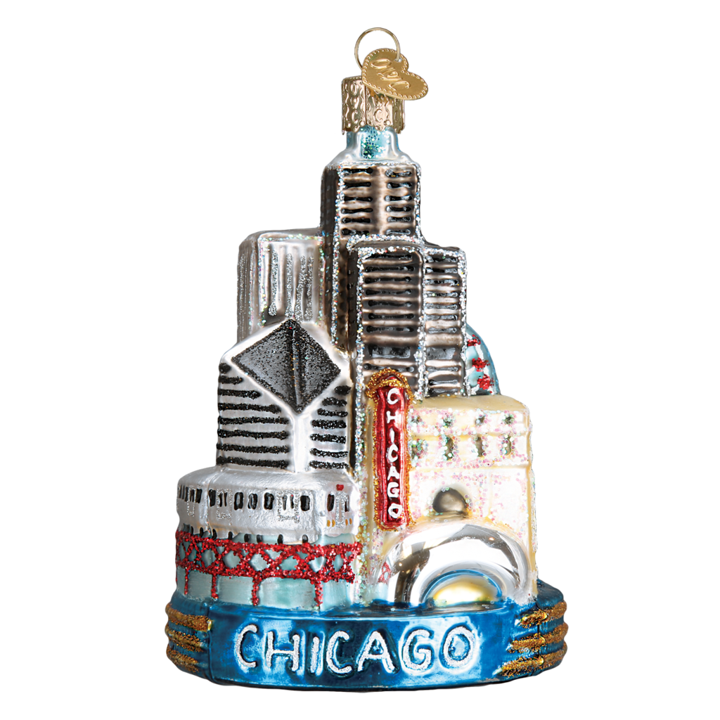 Ornament - Blown Glass - Cities -  Chicago