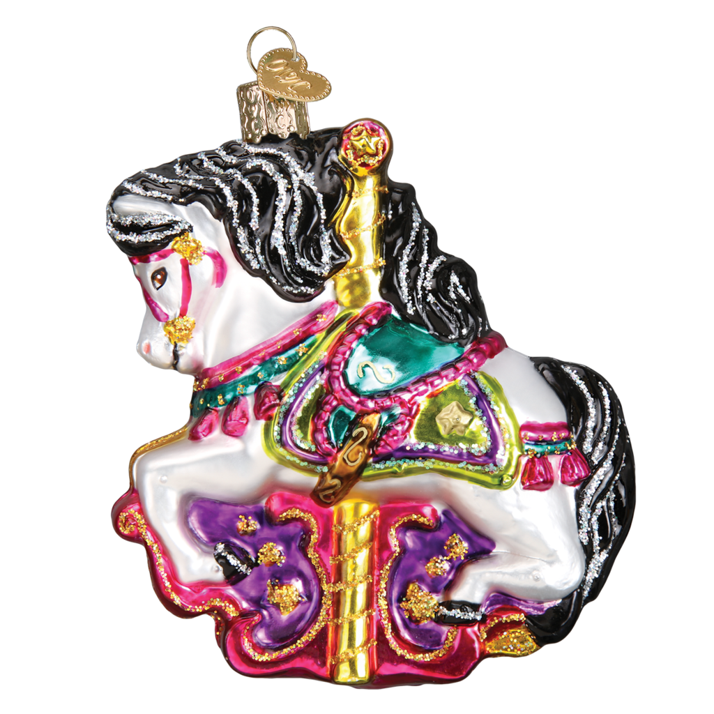 Ornament - Blown Glass -  Carousel Horse