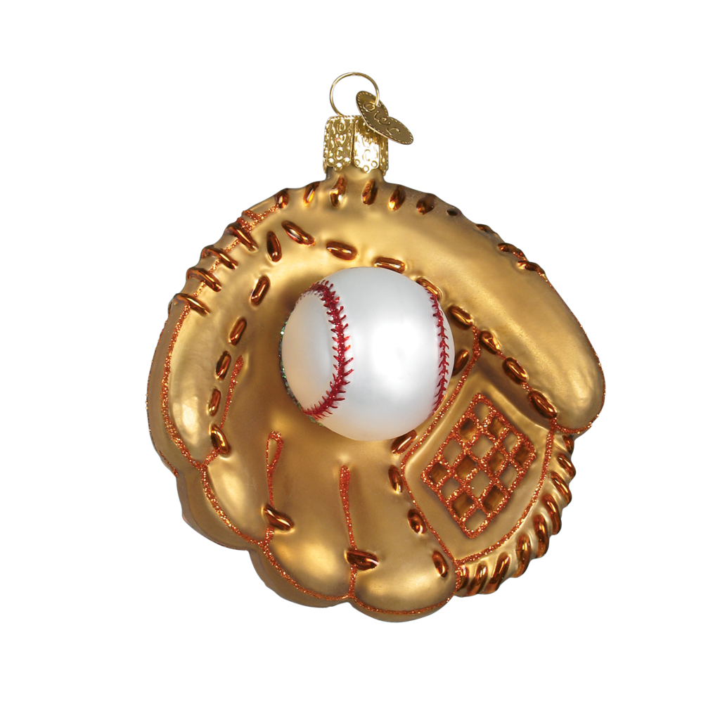 Ornament - Blown Glass - Sports -  Baseball Mitt