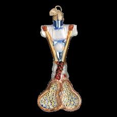 Ornament - Blown Glass - Sports -  Lacrosse Set