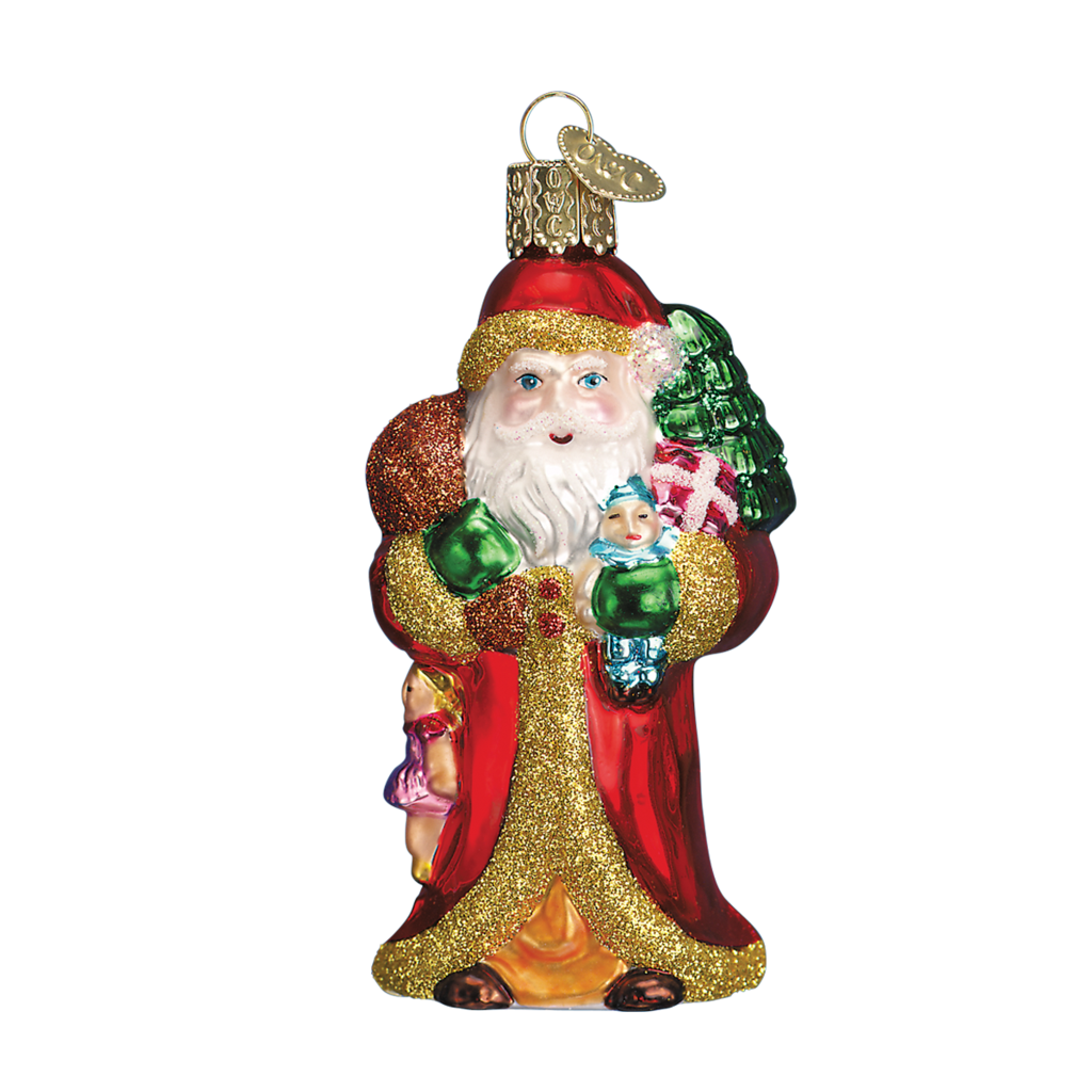 Ornament - Blown Glass - Traditional -  Father Christmas w/Gifts