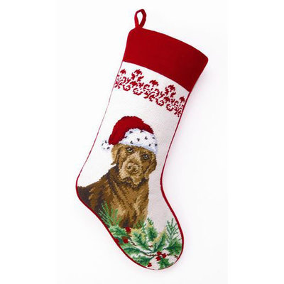 Stocking - Chocolate Lab - Needlepoint