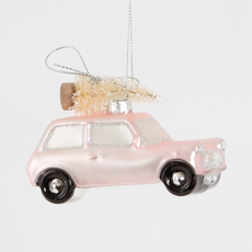 Ornament - Glass Bauble - Pink Car with Tree