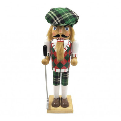 Nutcracker - Golfer - Man - Green Plaid - 14""