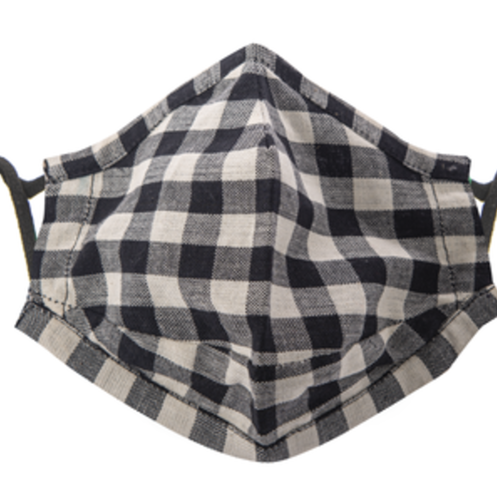 MH Face Mask - Buffalo Plaid - White & Black