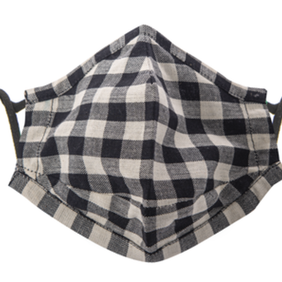 Face Mask - Buffalo Plaid - White & Black