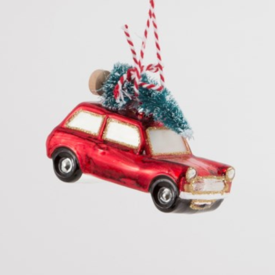 Ornament - Glass Bauble -  Red Car w/Tree