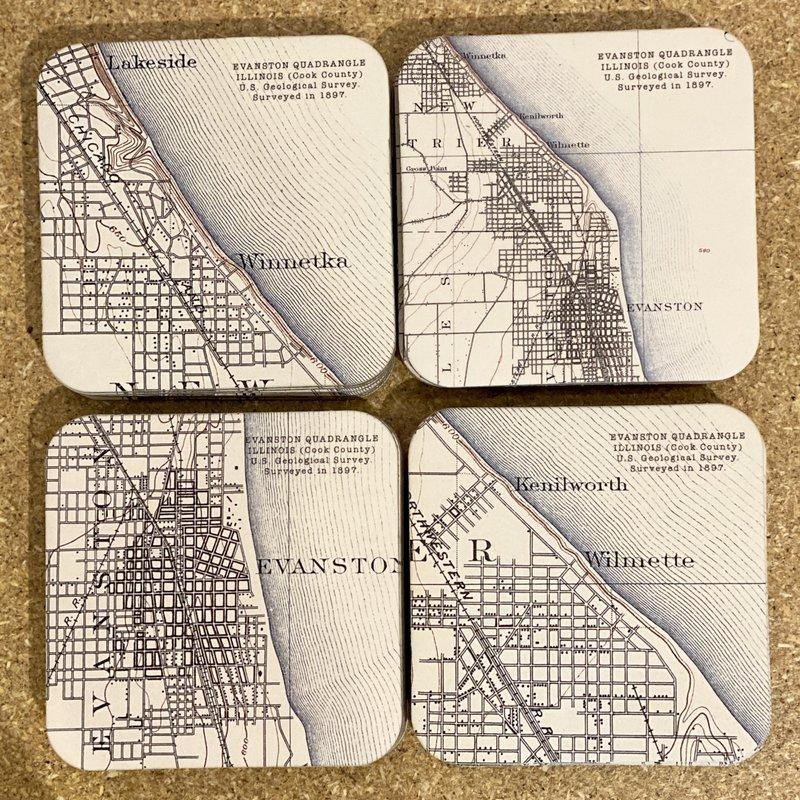 Atkal, Inc.  /  RE(de)FINED Map Design Coasters - North Shore Maps - Set of 4