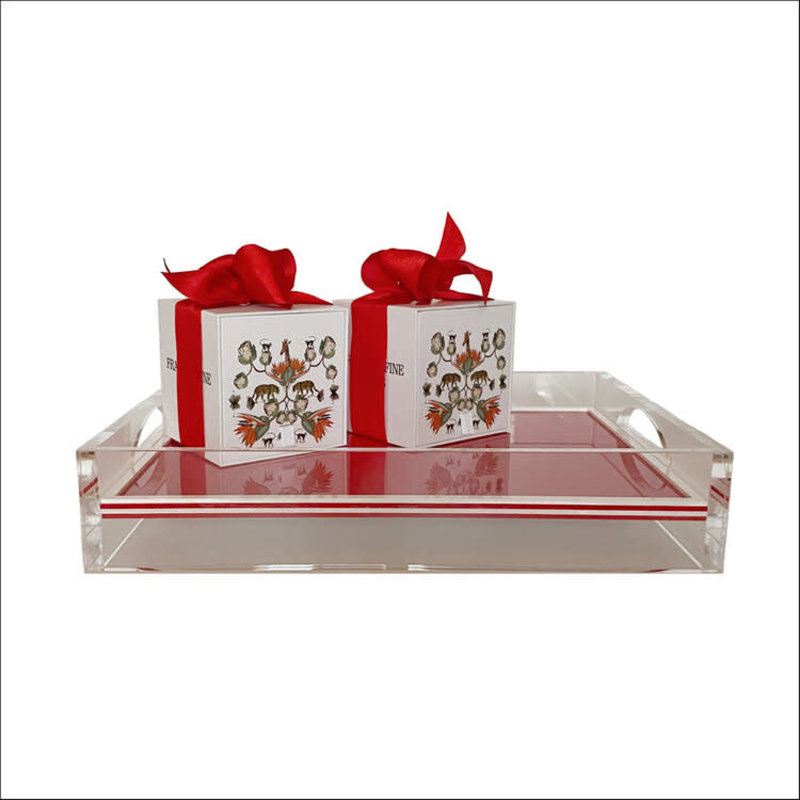 Franklin Fine Goods Tray - Acrylic - 2-Sided Solid - Red & White