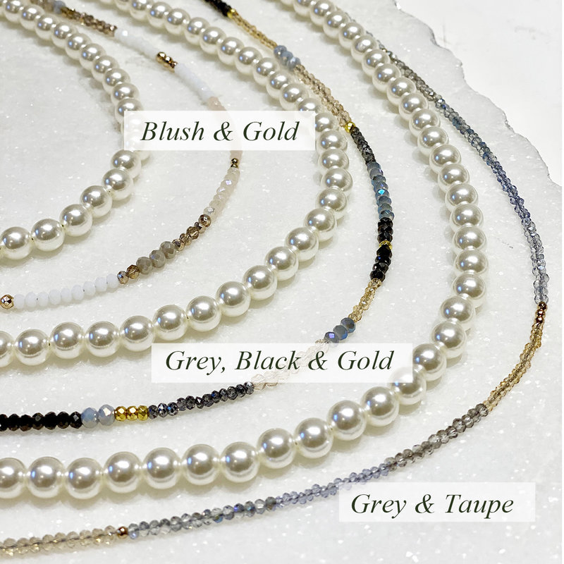 Sky Apothecary/Grey & Gold Designs Face Mask & Eyeglass Necklace / Chain - Beaded