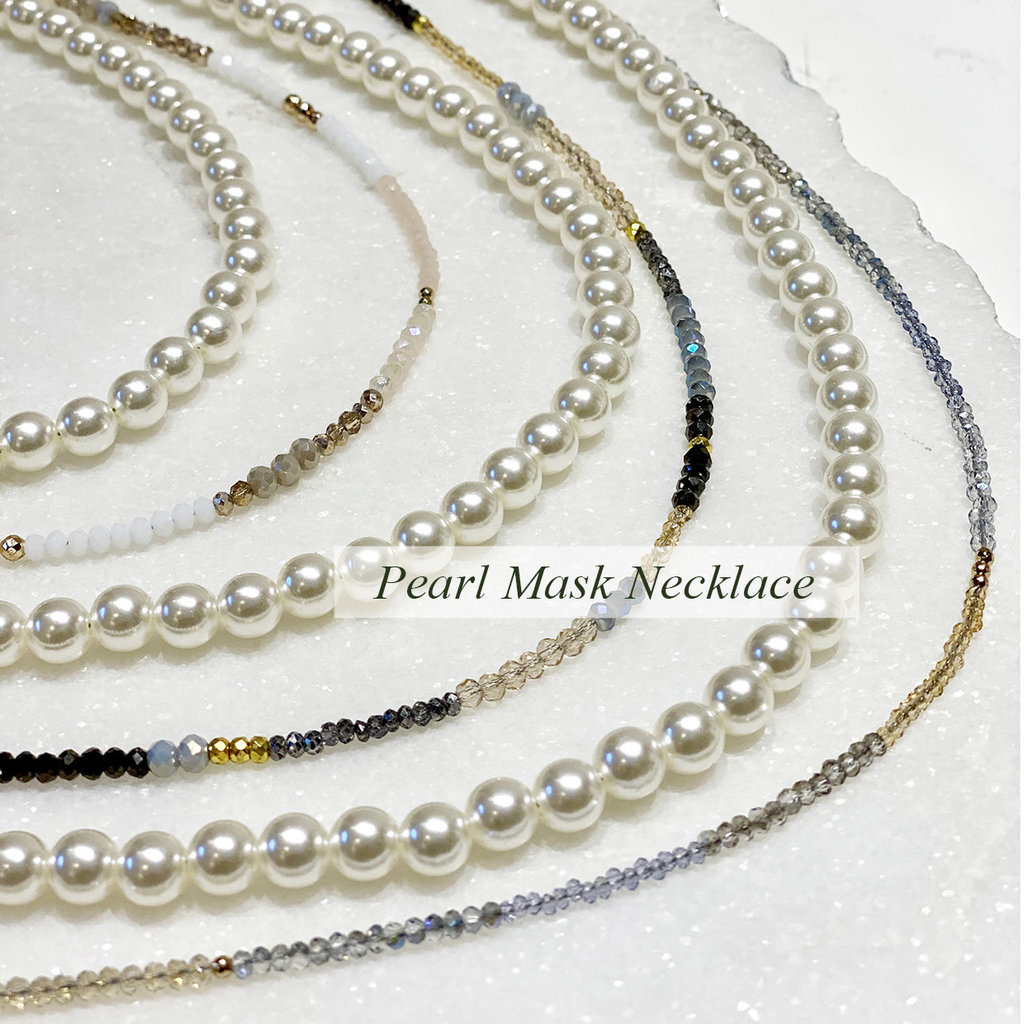 Sky Apothecary/Grey & Gold Designs Face Mask & Eyeglass Necklace - Pearls