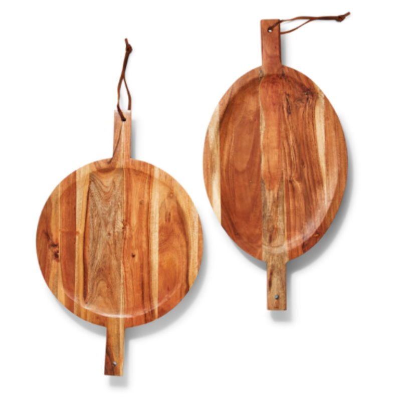 Two's Company Serving Board - Acacia Wood w/Leather Handles - Footed -