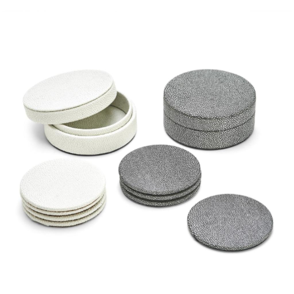 Coaster Set - Faux Shagreen in White & Grey