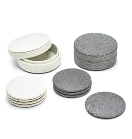 MH Coaster Set - Faux Shagreen in White & Grey