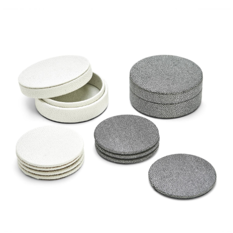 Two's Company Coaster Set - Faux Shagreen in White & Grey
