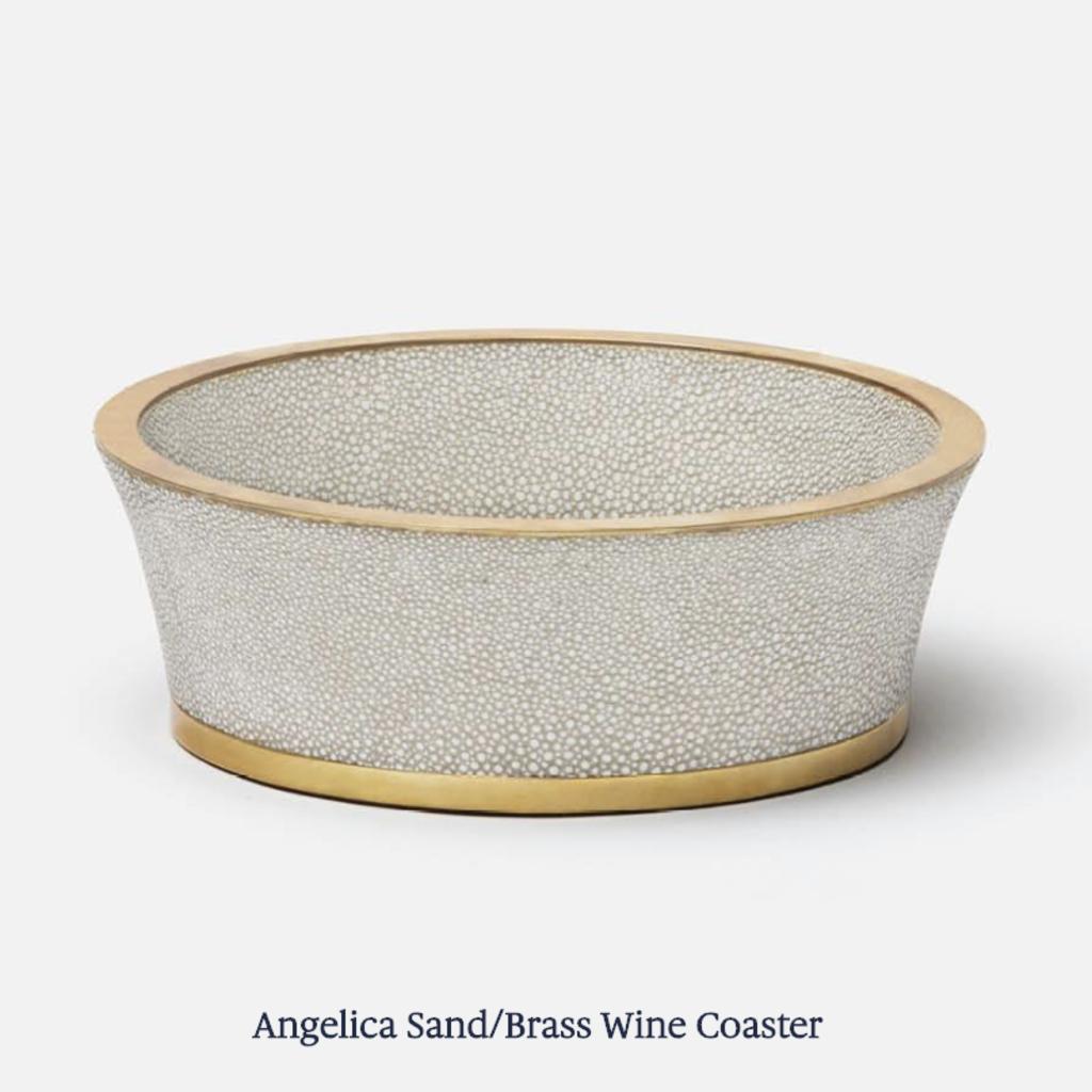 Wine Coaster - Angelica - Shagreen -  Sand & Brass