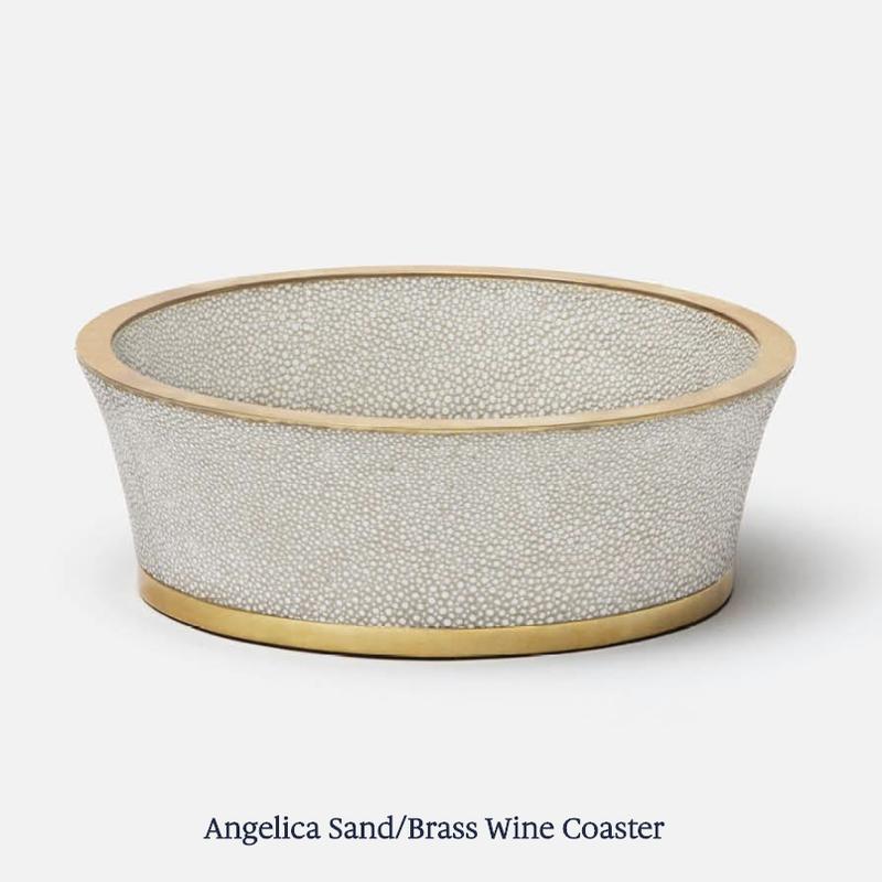 Blue Pheasant Wine Coaster - Angelica - Shagreen -  Sand & Brass