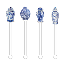 MH Stir Sticks - Set of 4 - Blue & White -  Ginger Jars Combo