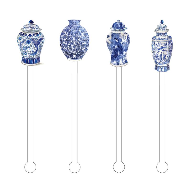 Acrylic Sticks Stir Sticks - Set of 4 - Blue & White -  Ginger Jars Combo