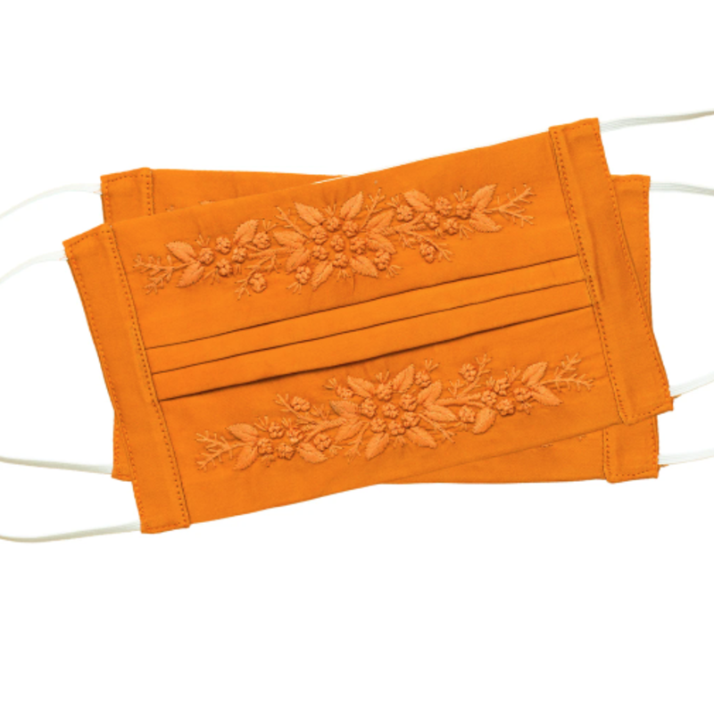 Henry  Handwork Face Mask - Jardin -  Orange on Orange