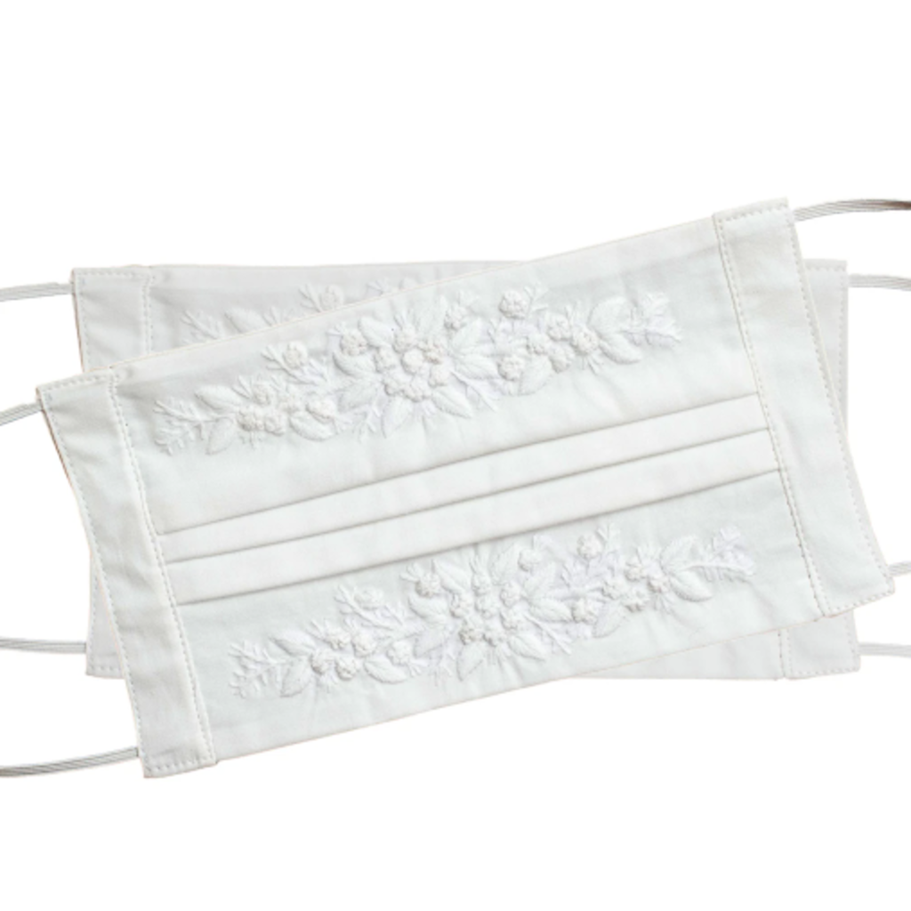 MH Face Mask - Jardin -  White on White