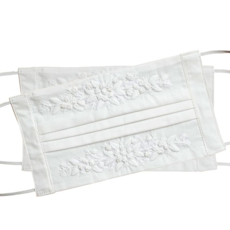 Henry  Handwork Face Mask - Jardin -  White on White