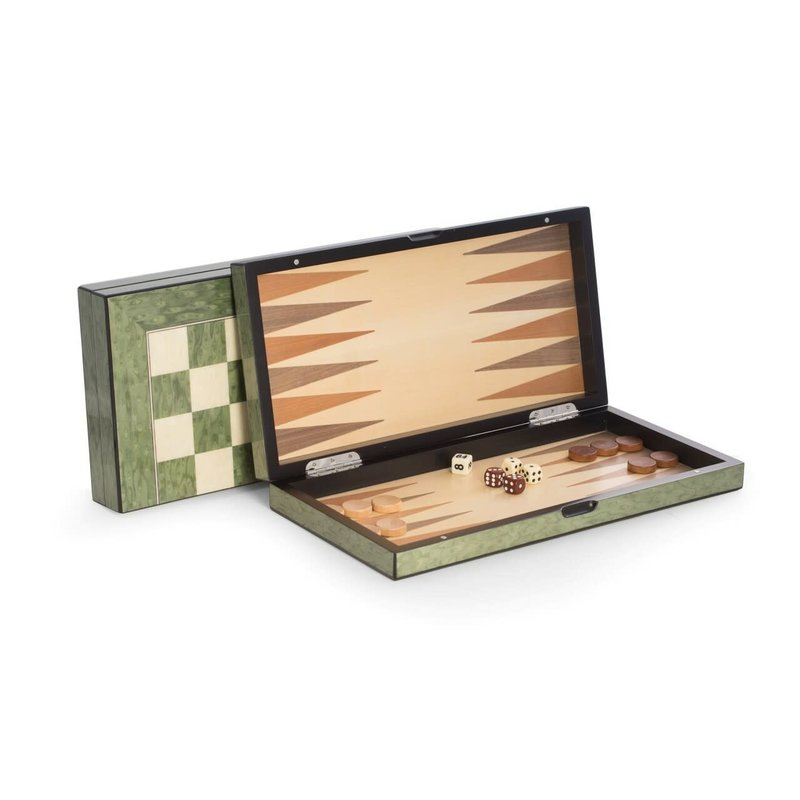 MH Backgammon & Chess Set  - Green Lacquered Wood Inlay