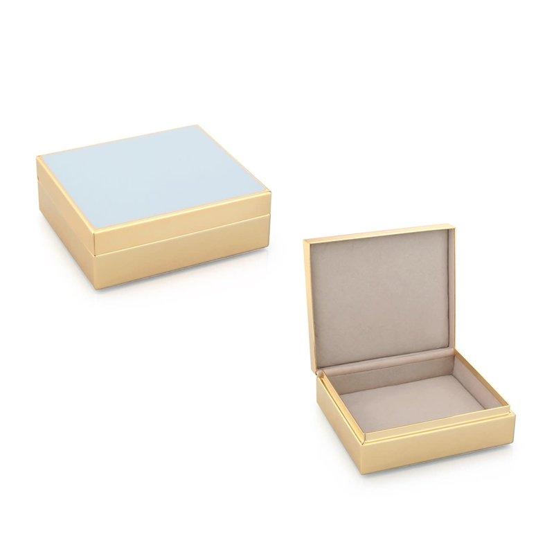 "Box - Trinket - Lacquered - 4"" Sq - Powder Blue & Gold"