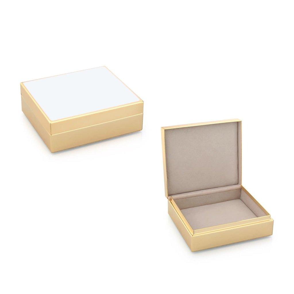 """Addison Ross LTD Box - Trinket - Lacquered - 4"""" Sq - White & Golden"""