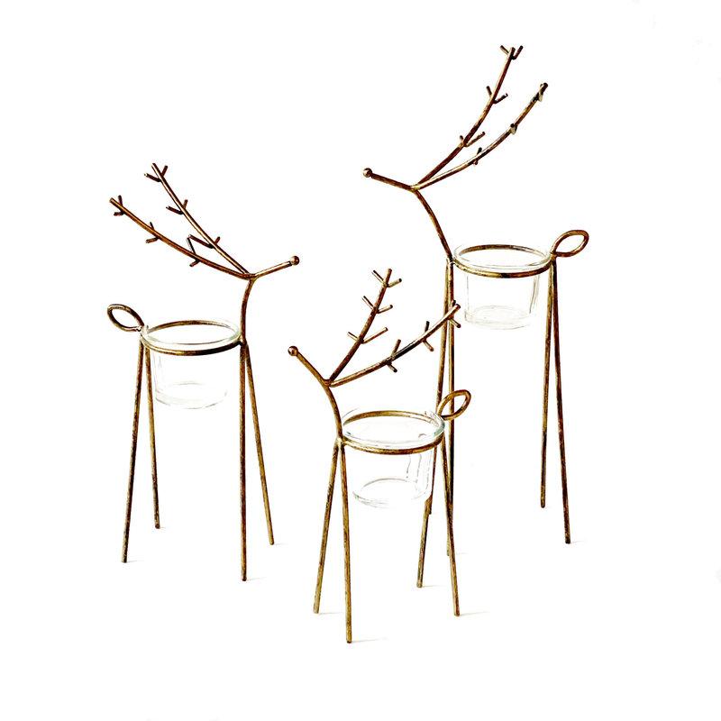 Tealight Holder - Reindeer - Antique Gold
