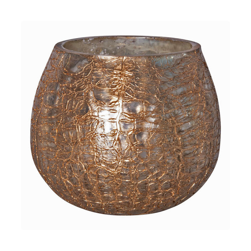 Creative Co-op Tealight Holder - Crackle Gold