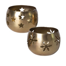 Tealight Holder - Gold Finish w/Cut-Outs  - 2 Styles - 2.5D x 2 H