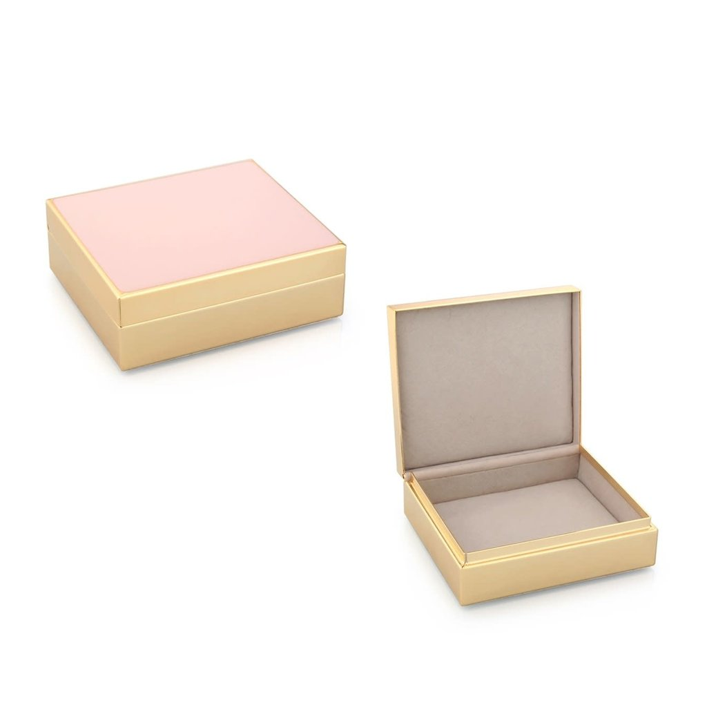 """Box - Trinket - Lacquered - 4"""" Sq - Pale Pink & Gold"""