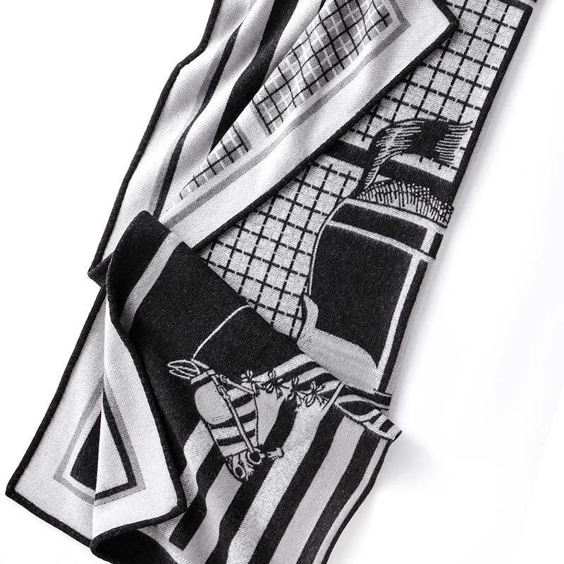 Balbianello Throw - Palio - Lambswool - Black & Ivory