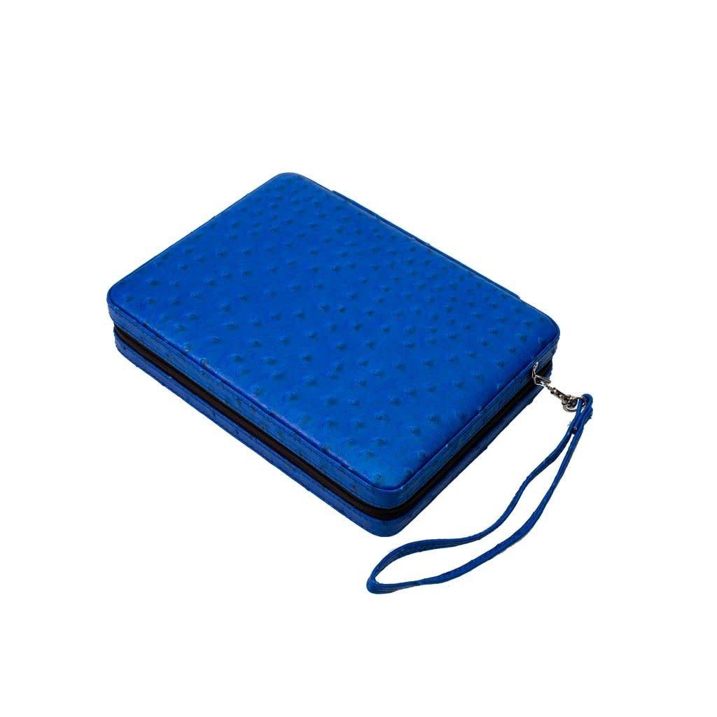 MH Backgammon - Travel Set -  Blue Faux Ostrich