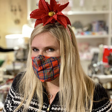 Face Mask - Holiday -  Adult - Red Tartan Plaid