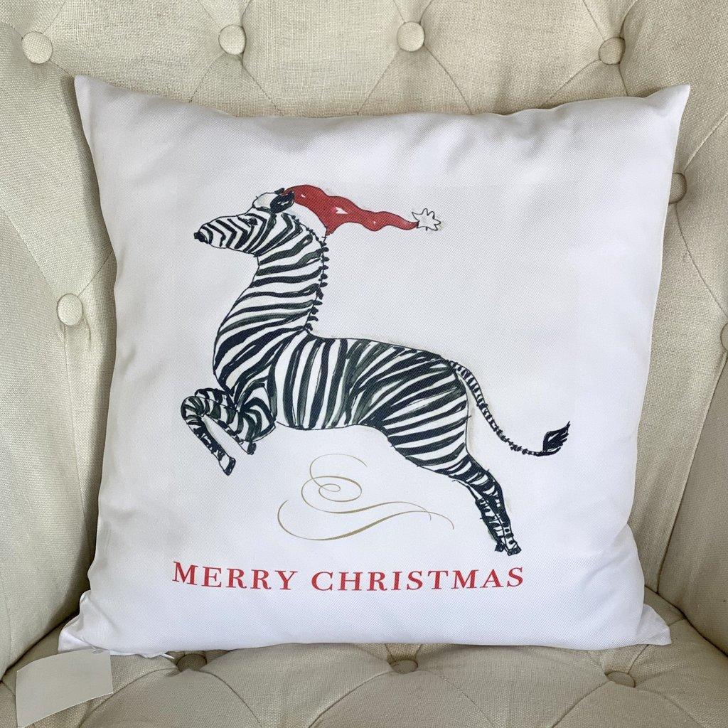 Accent Pillow - Zebra in Santa Hat