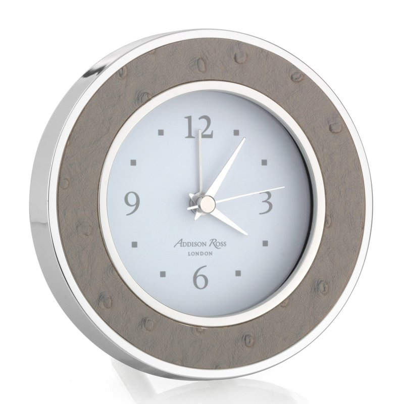 Alarm Clock - Round -  Shadow Ostrich - Silver