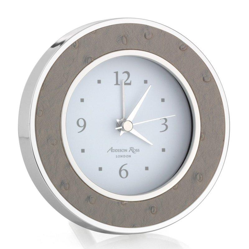 MH Alarm Clock - Round -  Shadow Ostrich - Silver