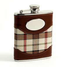 MH Flask - Brown Leather & Beige Plaid - Stainless 6 oz