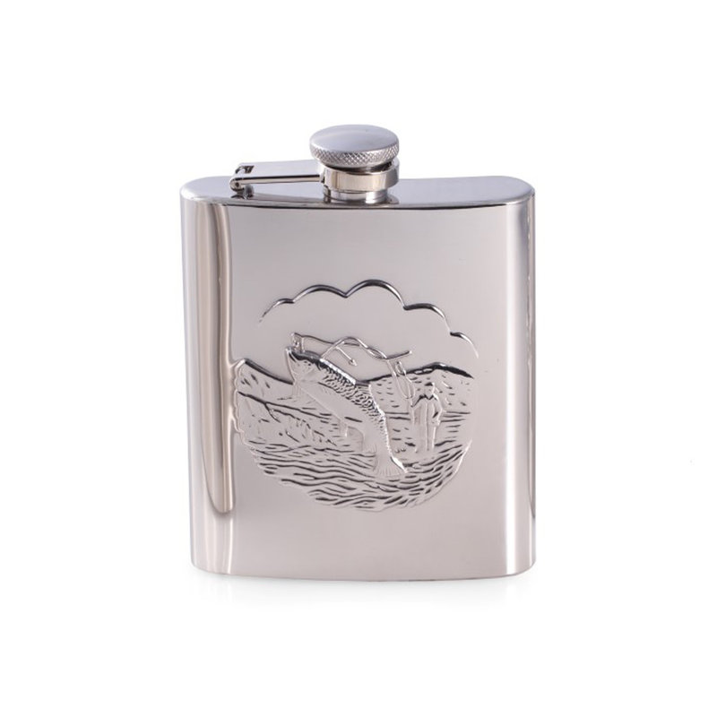 MH Flask - Fisherman Accent - Stainless - 8 oz.