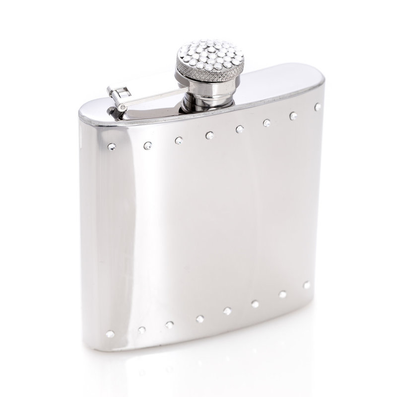MH Flask - Crystal Encrusted- Stainless - 6 oz.