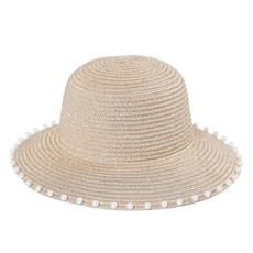 MH Hat - Pearl -Gold w/Beads