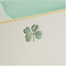 The Printery Boxed Notecards - 4-Leaf Clover - Metallic Green