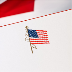 The Printery Boxed Notecards - American Flag on White w/Red Border