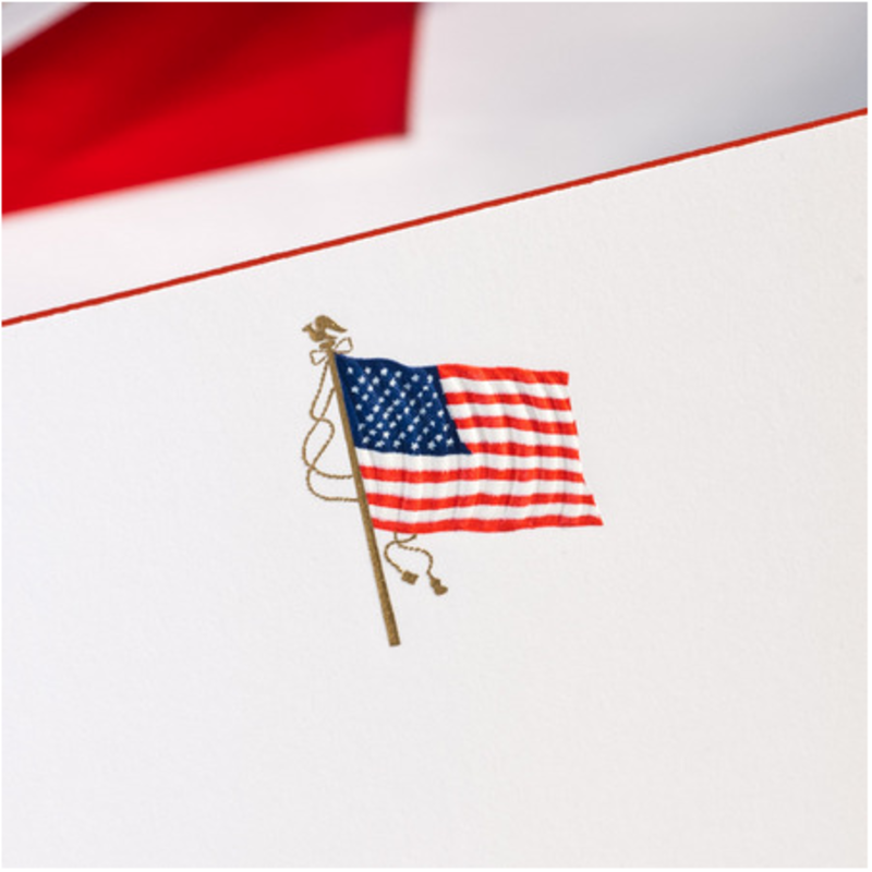 MH Boxed Notecards - American Flag on White w/Red Border