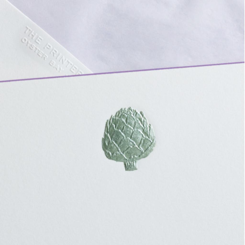 MH Boxed Notecards - Artichoke - Metallic