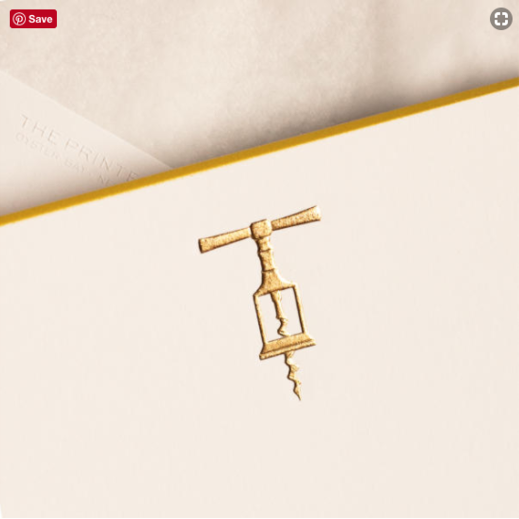 The Printery Boxed Notecards - Corkscrew - Gold on White